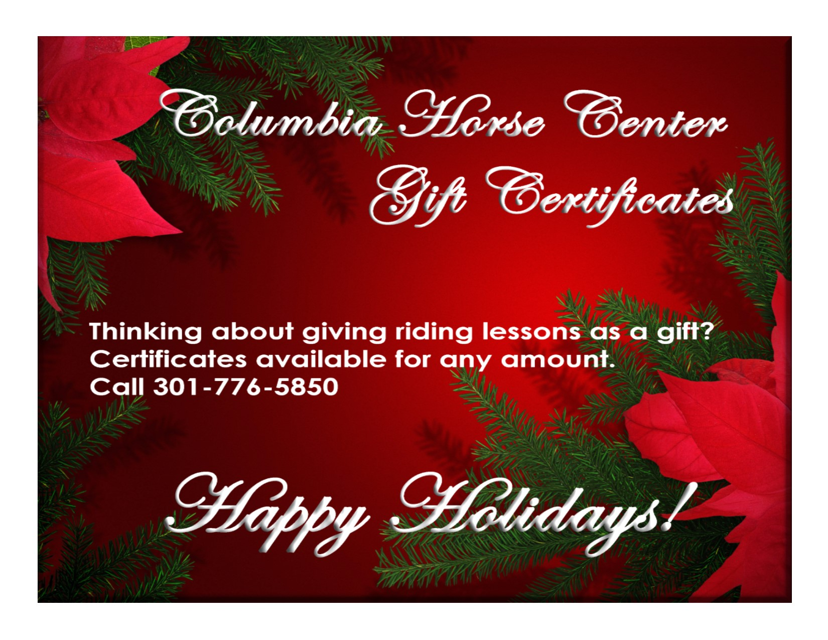 Gift Certificates at Columbia Horse Center